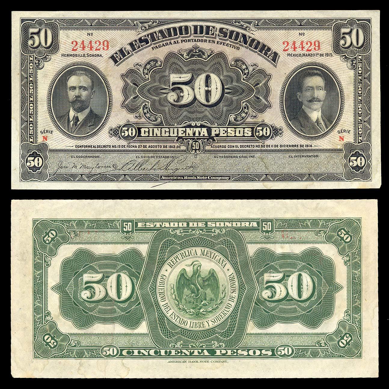 Mexican Revolution Banco de Sonora 5 Pesos Banknotes Peso Mexico Currency Money