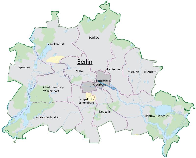 Location of Friedrichshain-Kreuzberg in Berlin