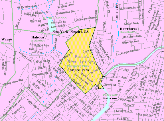 Census Bureau map of Prospect Park, New Jersey
