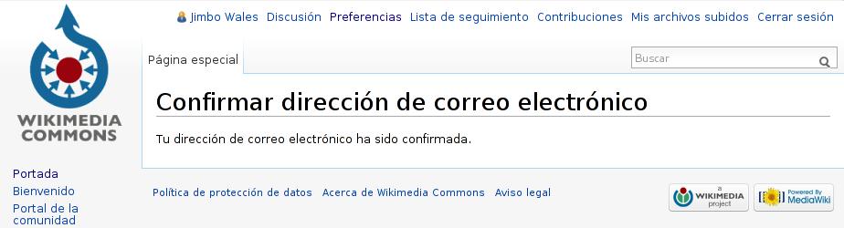Dirección de correo electrónico confirmada en Wikimedia Commons.png