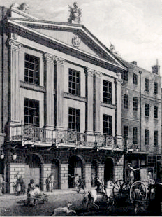 The facade on Bridges Street. Added in 1775, this gave the theatre its first on-street entrance.