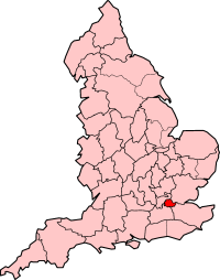 County of London shown within England