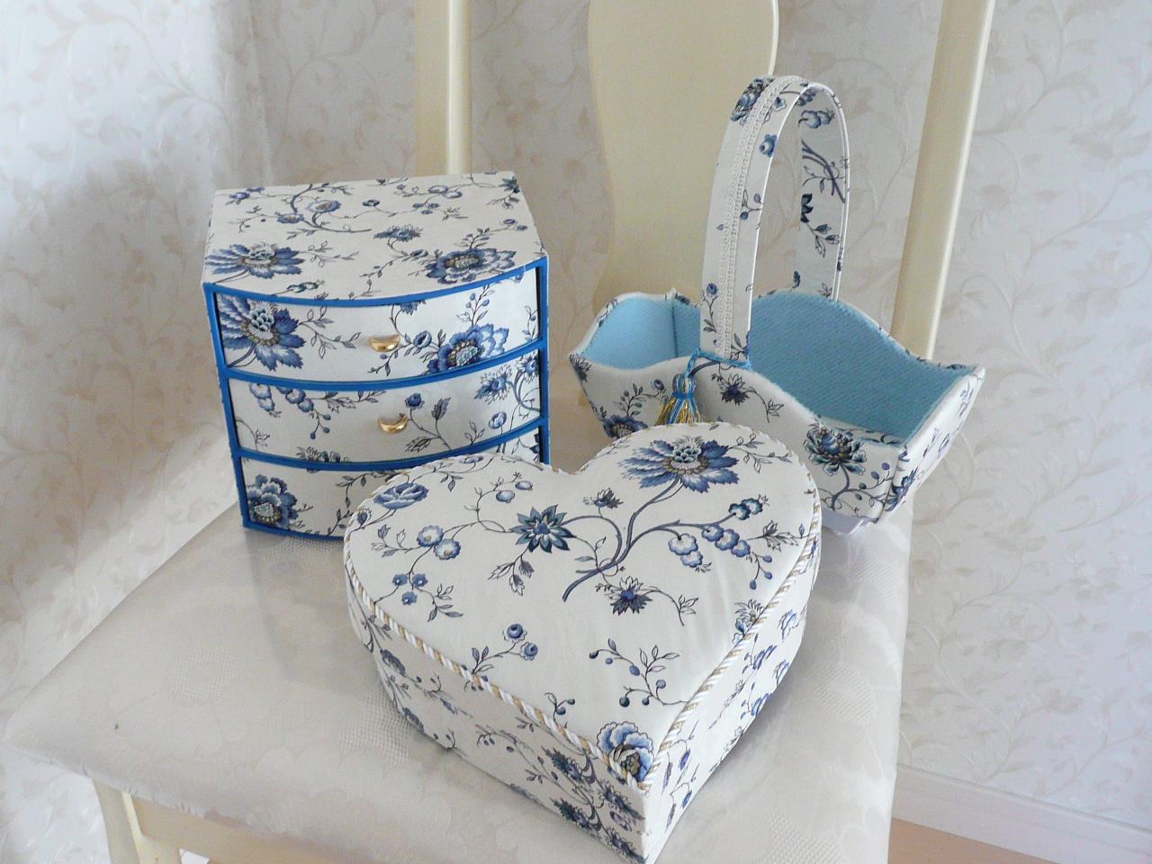 File Fabric Covered Basket Chest Of Drawers And Heart