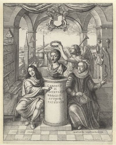 Frontispiece to 'The History of Royal-Society of London', picturing Bacon (to the right) among the founding influences of the Society - National Portrait Gallery, London Frontispiece to 'The History of the Royal-Society of London'.jpg