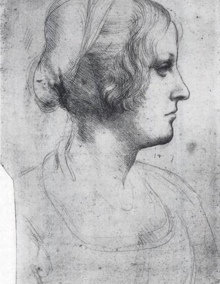 Teckning av Cecilia Gallerani (?) ritad av Leonardo da Vinci, 1400-talet