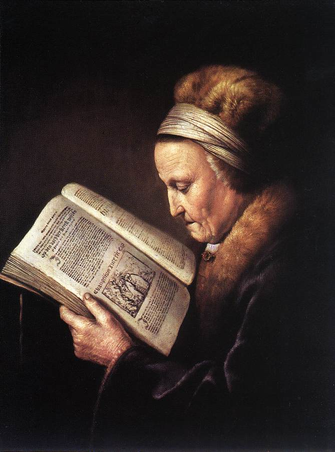 Portrait of an old woman reading (Gerard Dou)