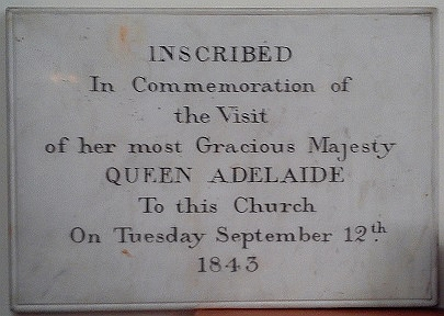 St John the Baptist Church, Hagley, tablet commemorating a visit by Queen Adelaide in 1843 Hagley, St John the Baptist - interior, Queen Adelaide 1.jpg