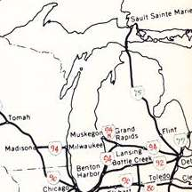1958 planning map for Michigan's Interstate Highways