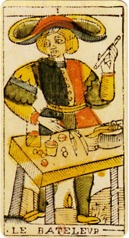 An original card from the tarot deck of Jean Dodal of en:Lyon, a classic Tarot of Marseilles deck which dates from 1701-1715.