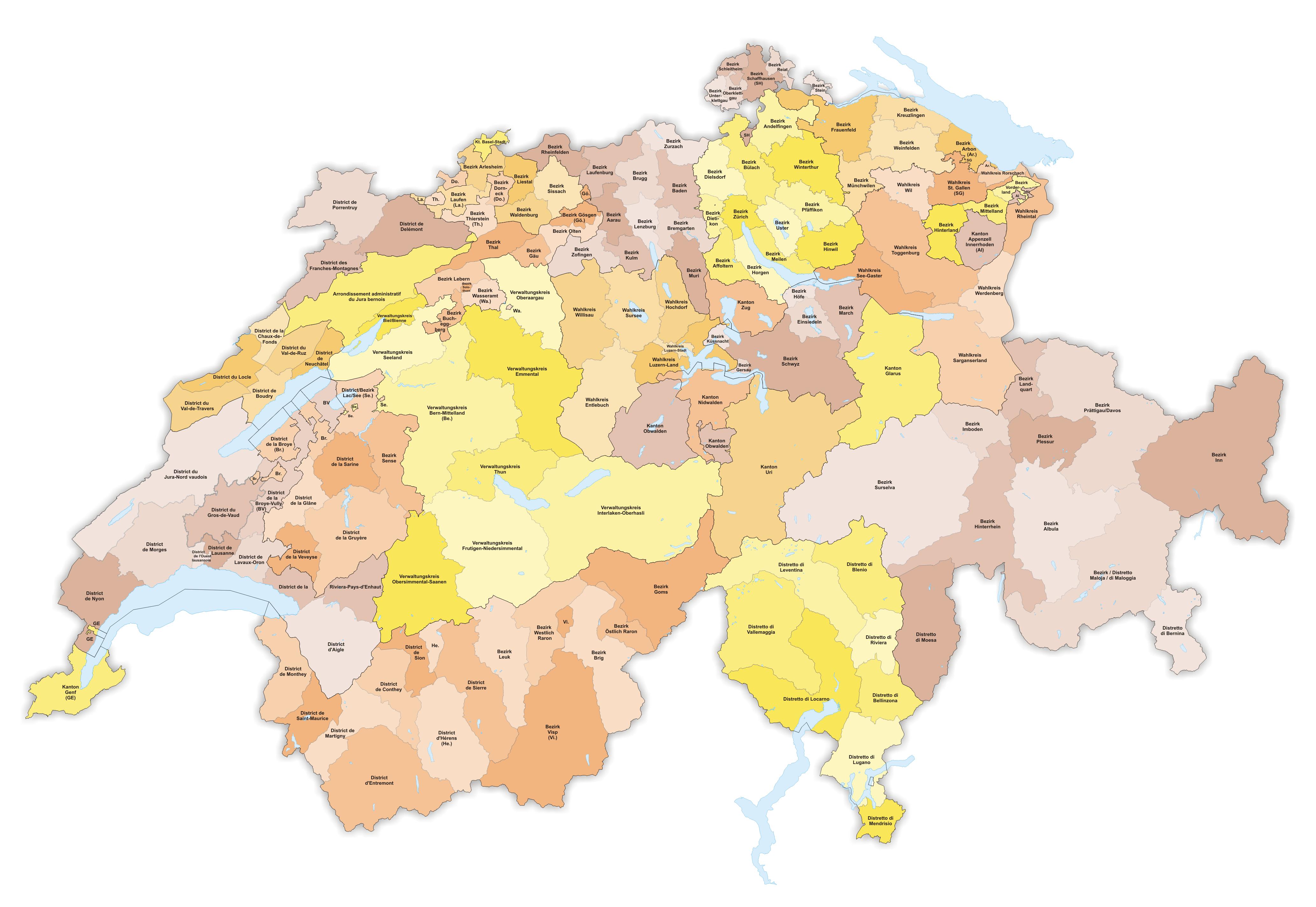 Postleitzahlen Karte Schweiz
