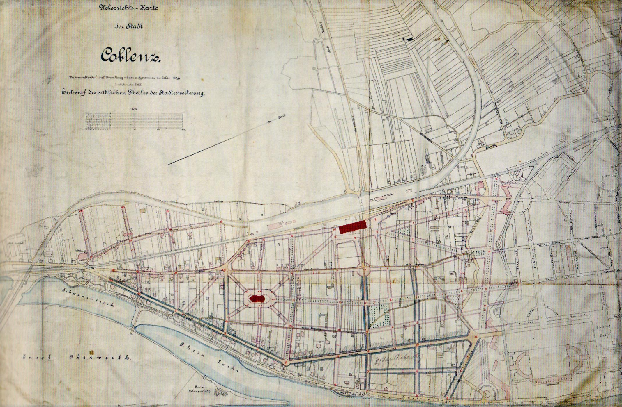 Karte Koblenz.Datei Karte Südliche Stadterweiterung Koblenz 1890 Jpg Wikipedia