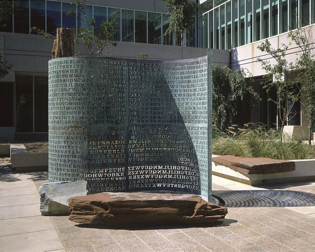 The Kryptos sculpture at CIA Headquarters in Langley Virginia