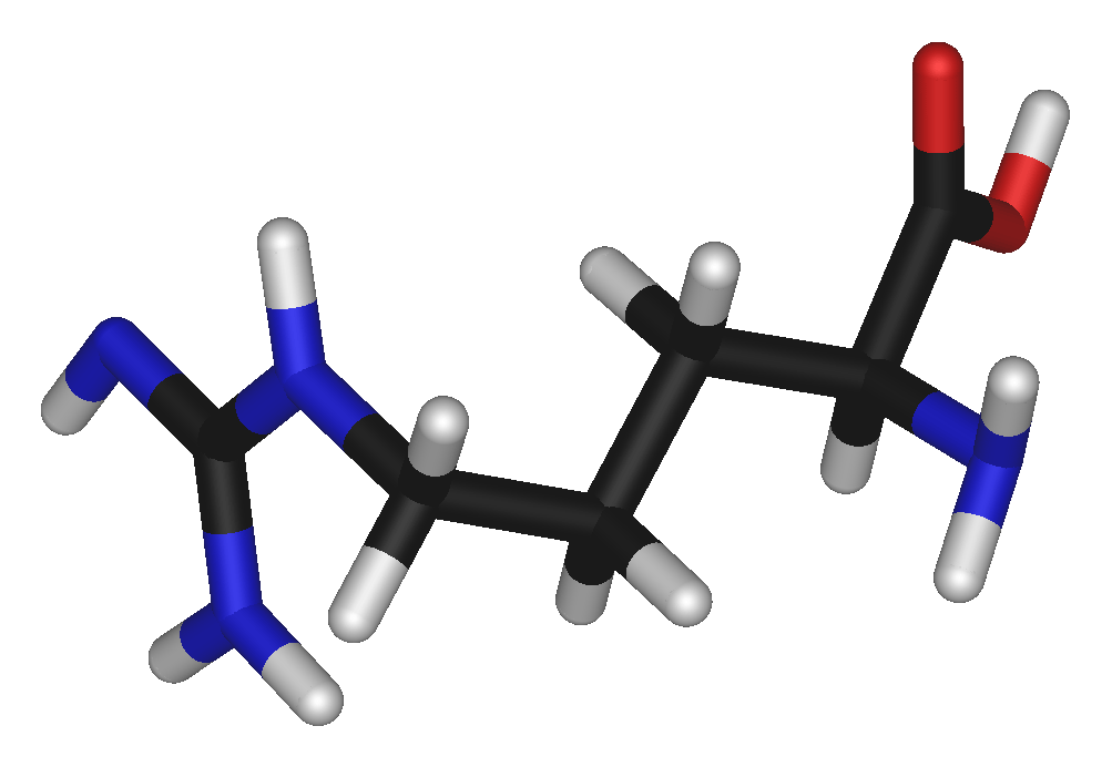 Arginine also known as Larginine symbol Arg or R is an αamino acid that is used in the biosynthesis of proteins It contains an αamino group an αcarboxylic acid group and a side chain consisting of a 3carbon aliphatic straight chain ending in a guanidino groupAt physiological pH the carboxylic acid is deprotonated COO  the amino group is protonated NH 3  and the
