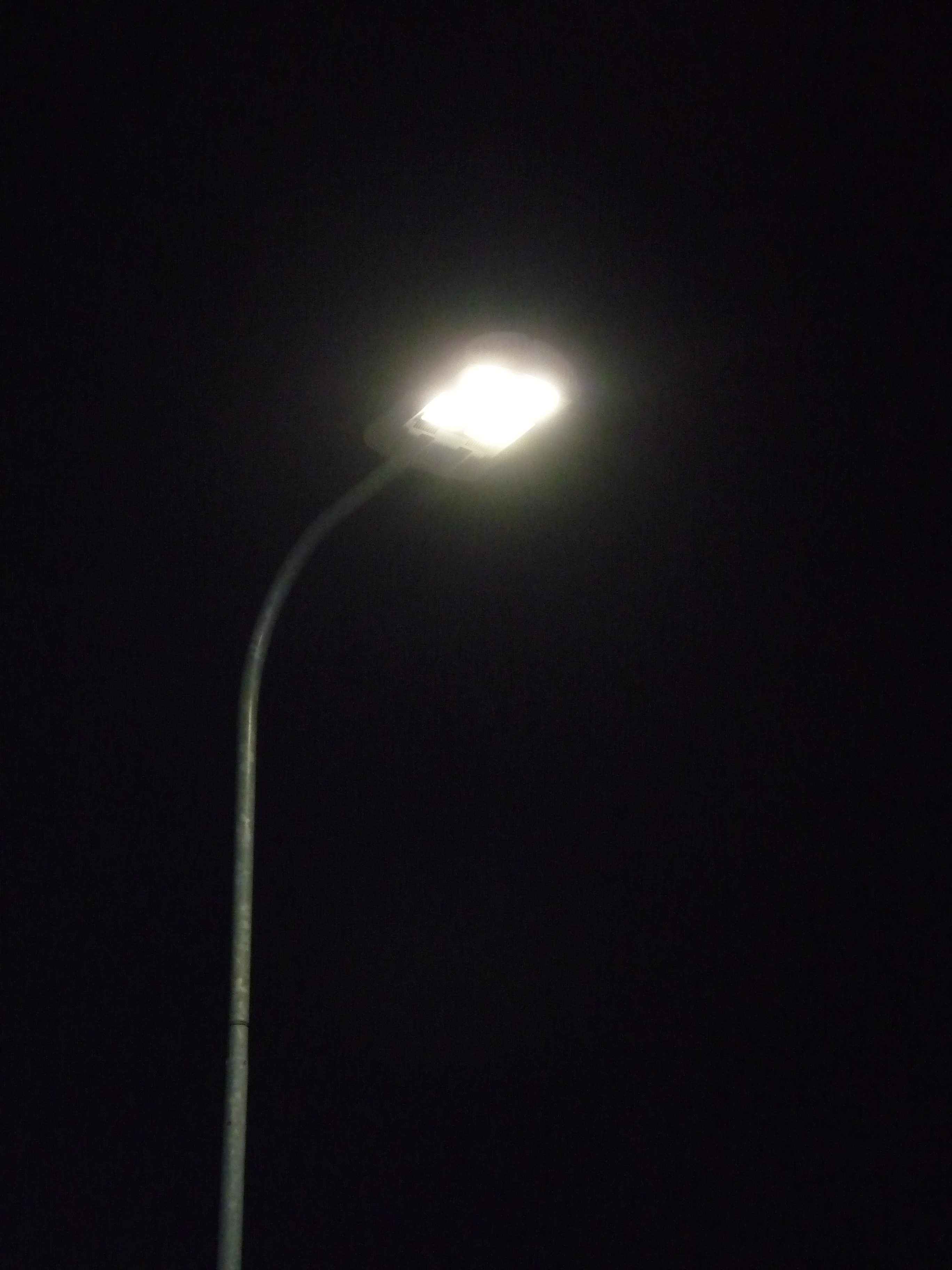 LED streetlight in Talinn, Estonia. LEDs tend to emit cooler, whitish light than fluorescent or incandescent bulbs. Image courtesy of Wikimedia.org user Dmitry G.