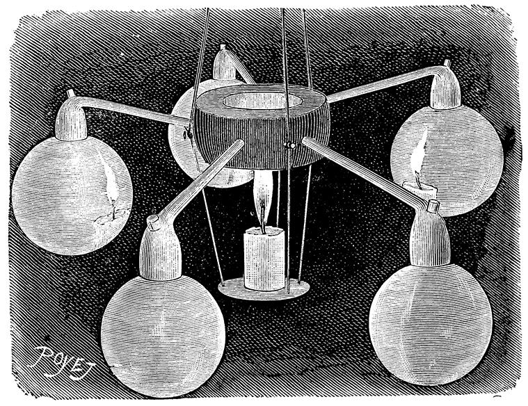 Soap-bubble Chandelier engraving, 1890