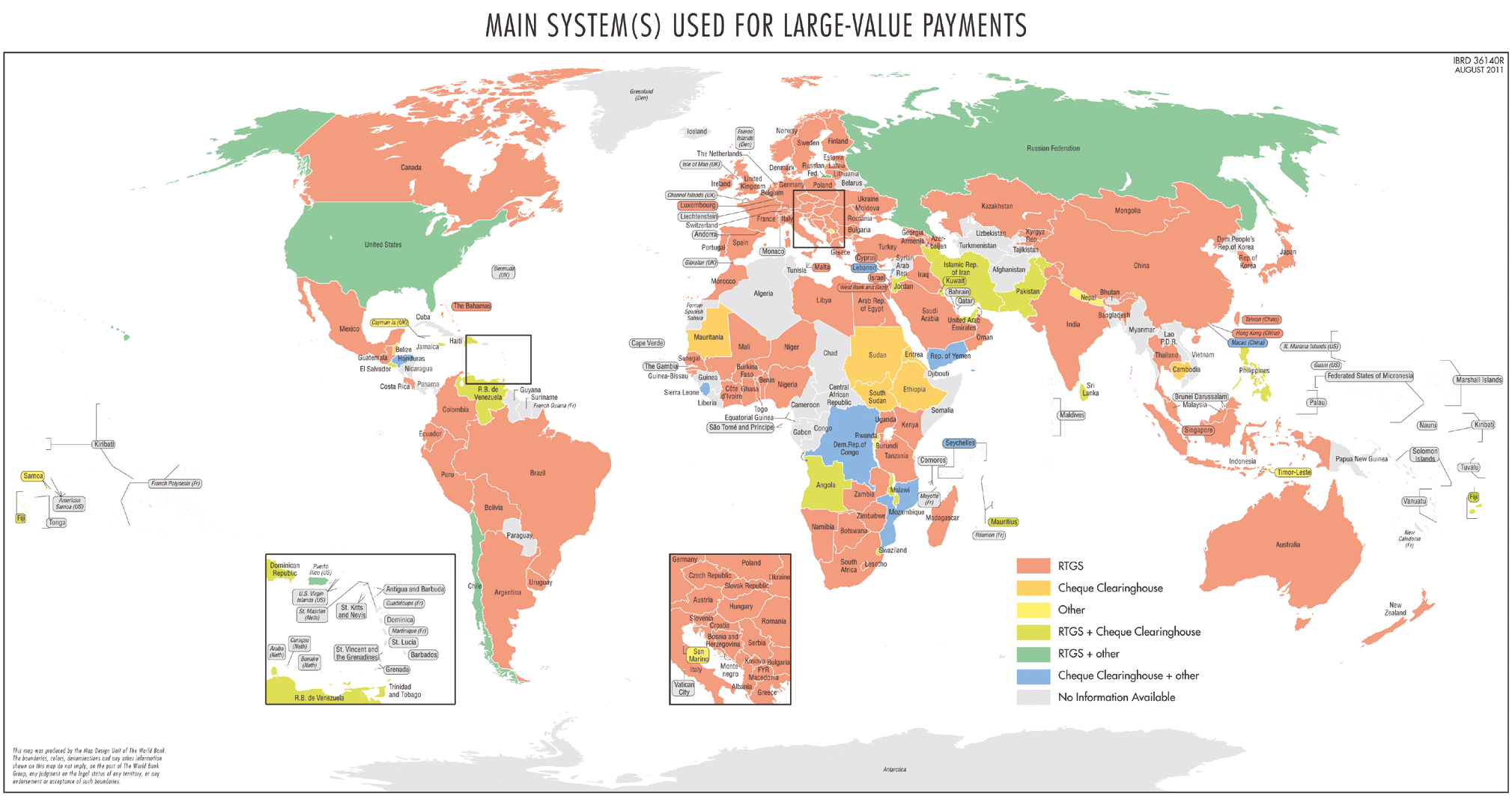 World map with main systems used for large value payments