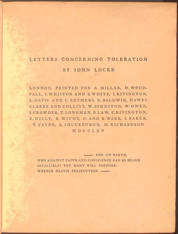 essay concerning toleration locke John locke figures prominently in accounts of the development of the principle of religious toleration in liberal societies locke's first published essays were on.