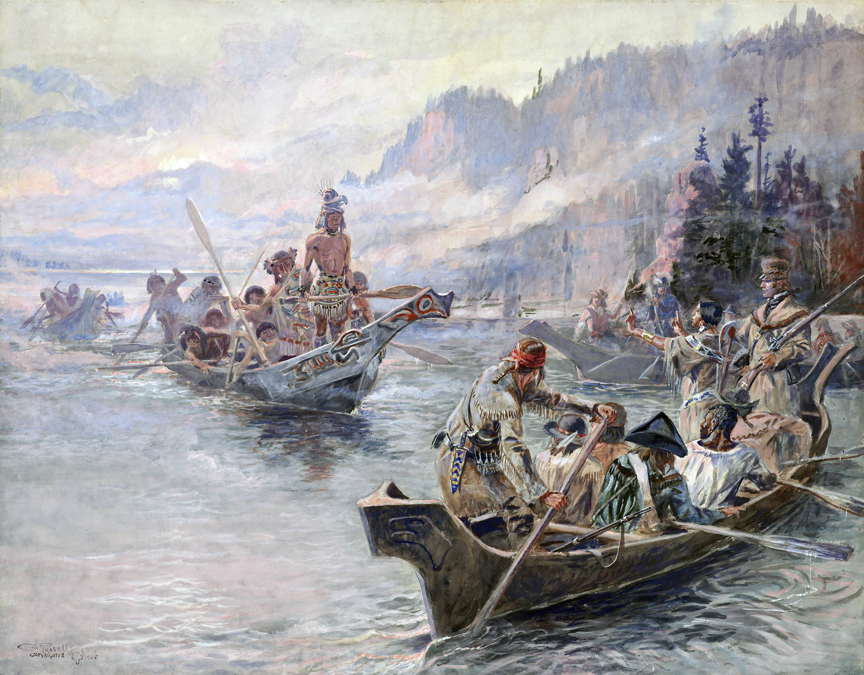 Painting Lewis and Clark on the Lower Columbia (Height: 24 ? (60.9 cm); Width: 28 ? (71.1 cm) ) by Charles Marion Russell; Opaque and transparent watercolor over graphite underdrawing on paper