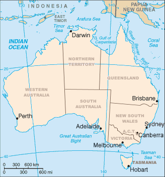 A clickable map of Australia's states and mainland territories