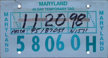 Maryland temporary tag, Mazda (November 1998).png