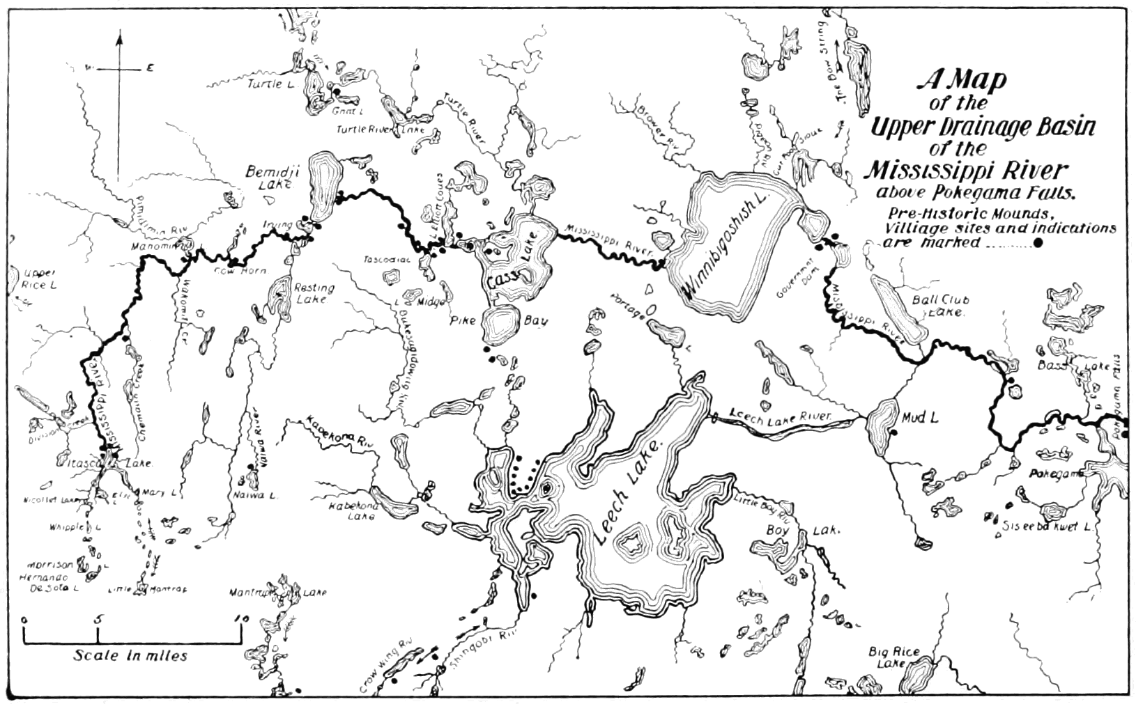 PSM V65 D324 Map of the mississippi basin above pokegama falls.png