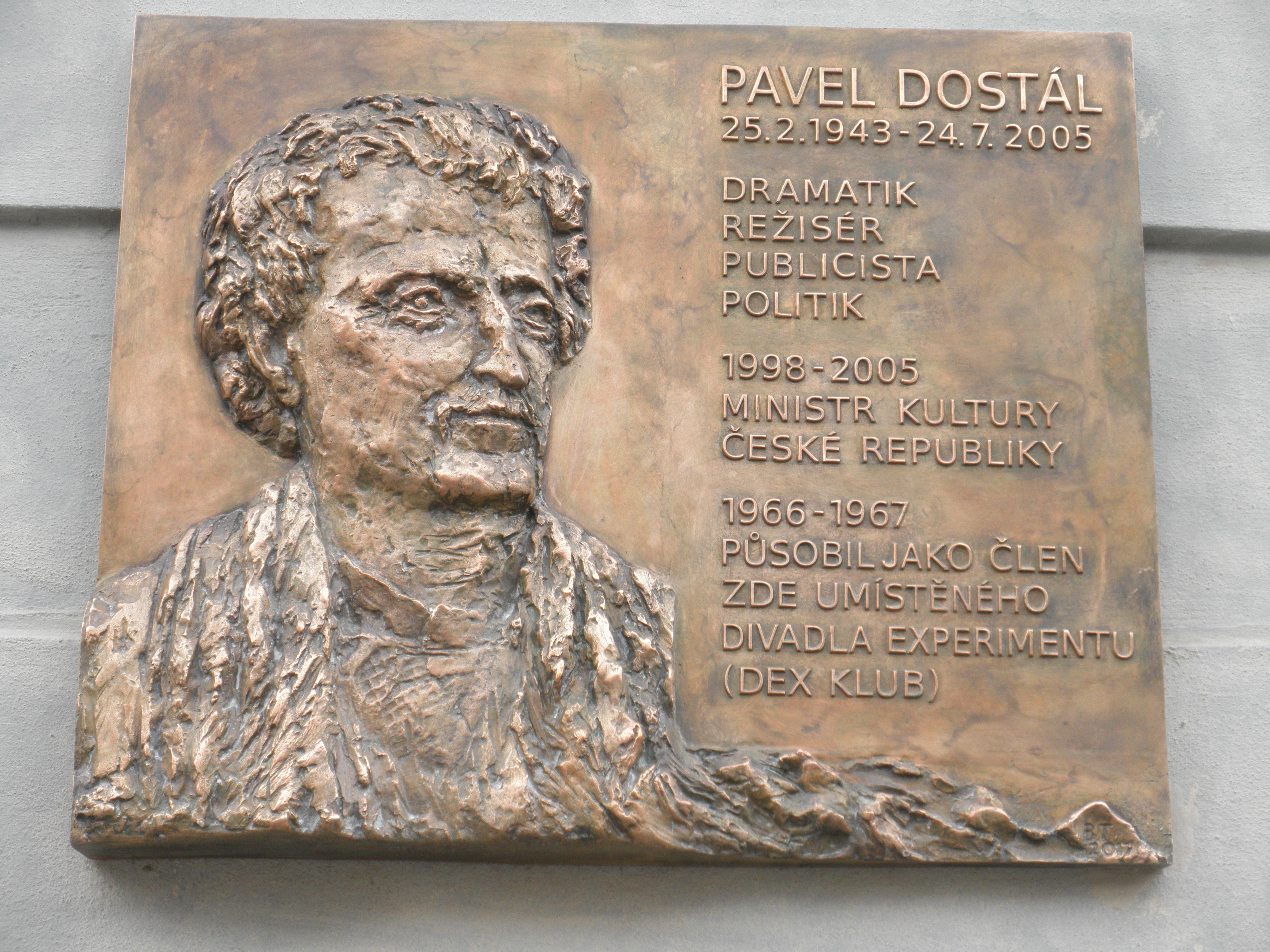 Memorial plaque to Pavel Dostál in Olomouc