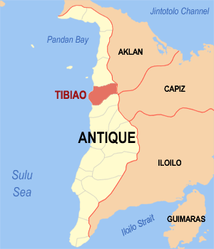 Map of Antique showing the location of Tibiao