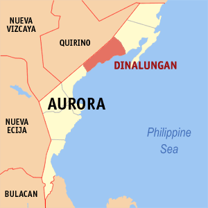 Map of Aurora showing the location of Dinalungan