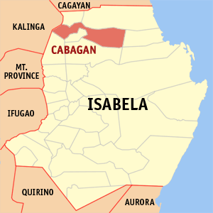 Map of Isabela showing the location of Cabagan