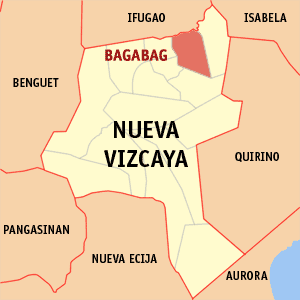 Map of Nueva Vizcaya showing the location of Bagabag