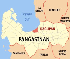 Map of Pangasinan showing the location of Dagupan.