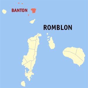 Map of Romblon showing the location of Banton