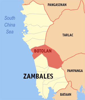 Map of Zambales showing the location of Botolan