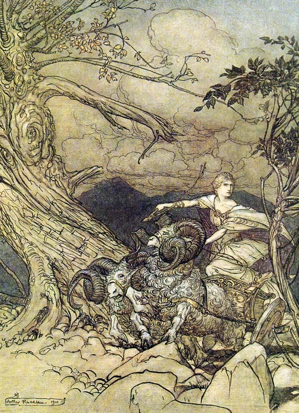 Frigg rides a chariot , Arthur Rackham