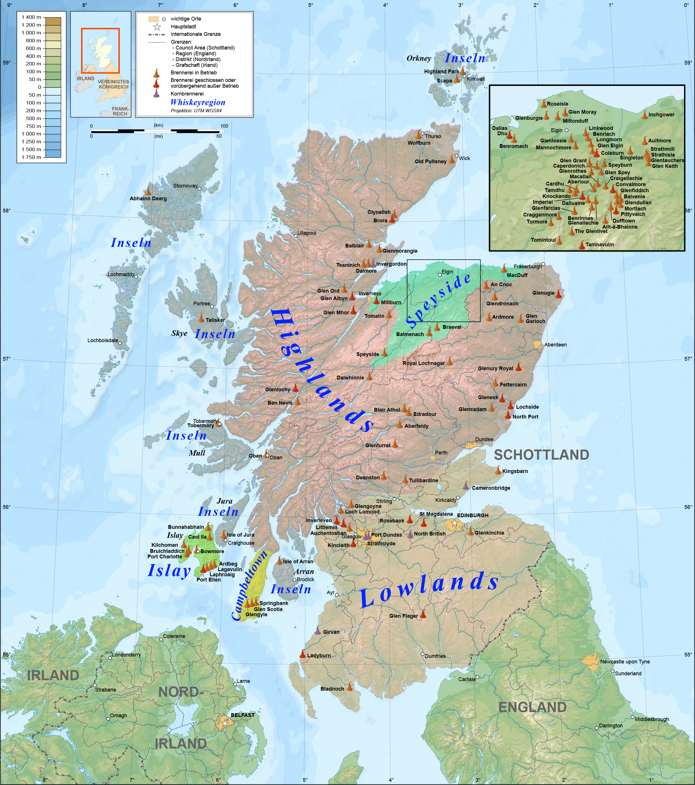 Whisky Karte Schottland.Datei Scotland Map Of Whisky Distilleries De Png Wikipedia