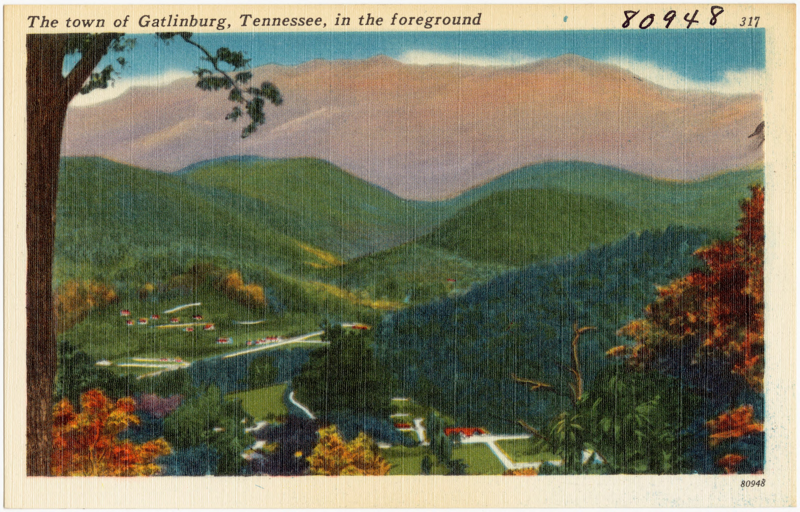 Oval Tablecloth Size Chart: The town of Gatlinburg Tennessee in the foreground (80948 ,Chart