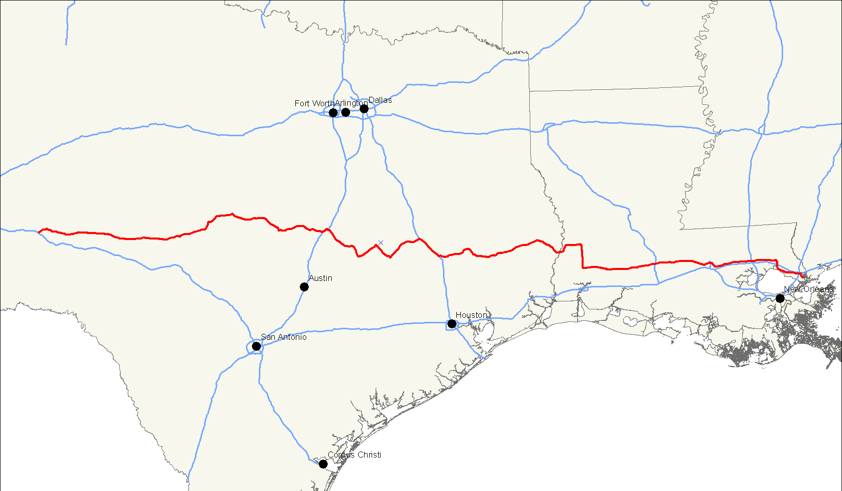 Highway 190 Texas Map U.S. Route 190   Wikipedia