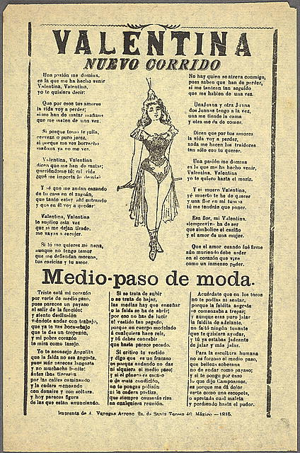 An example of a corrido song sheet or sheet music, this one from 1915 at the height of the Mexican Revolution Valentina-corrido.jpg
