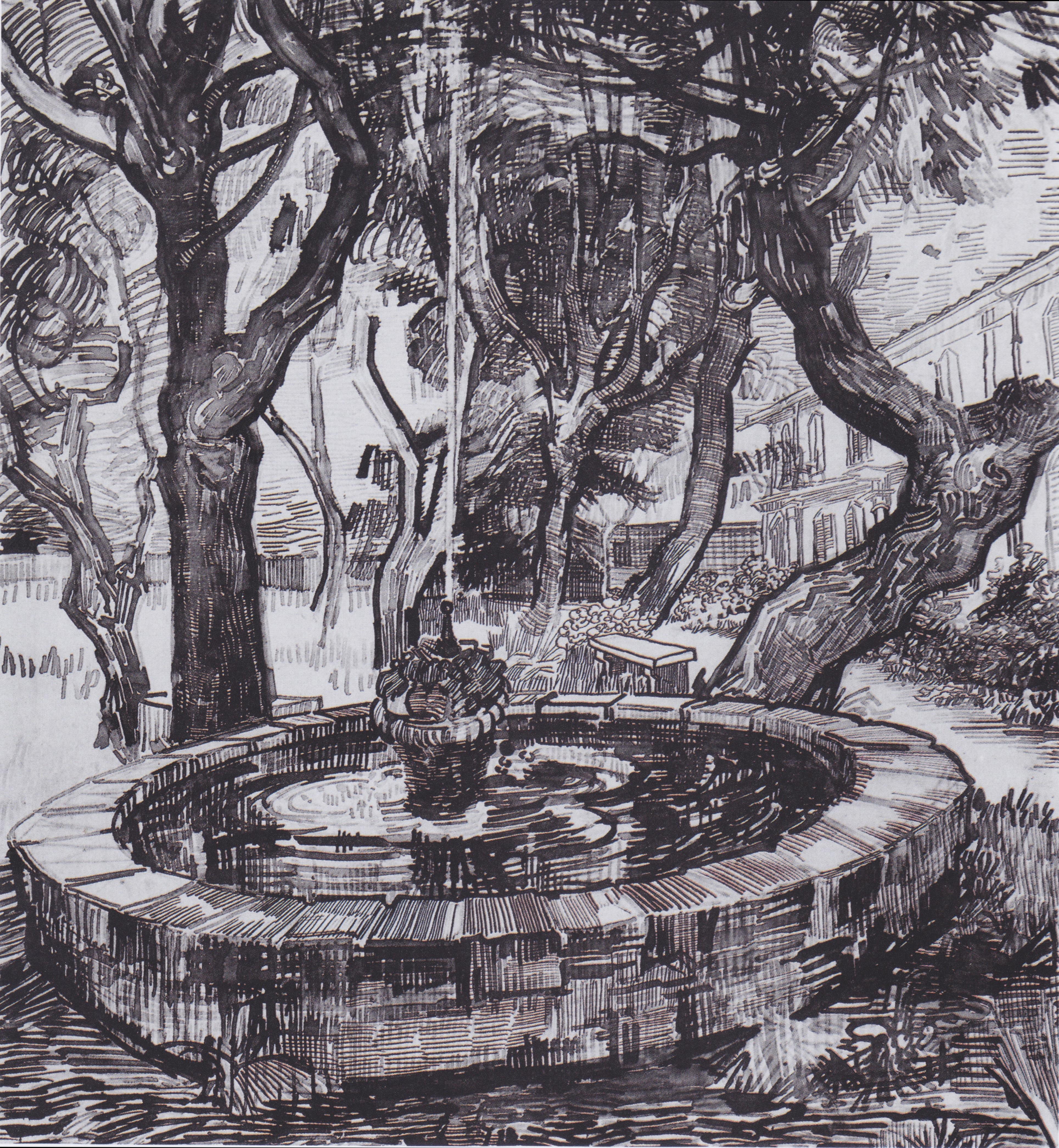 File:Van Gogh - Brunnen im Garten des Hospitals Saint-Paul ...