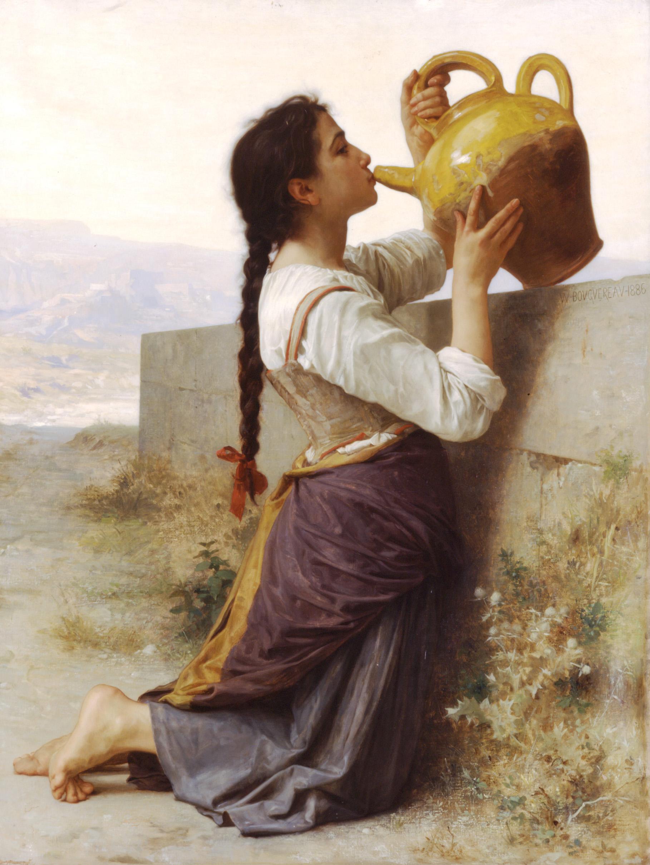 Eine Frau stillt ihren Durst.
