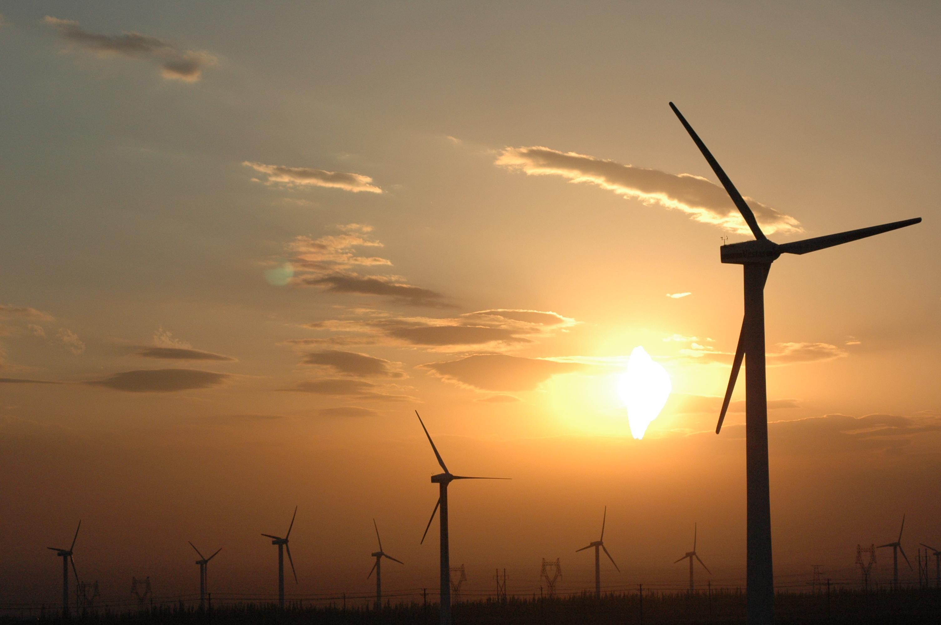 说明 Wind power plants in Xinjiang, China.jpg