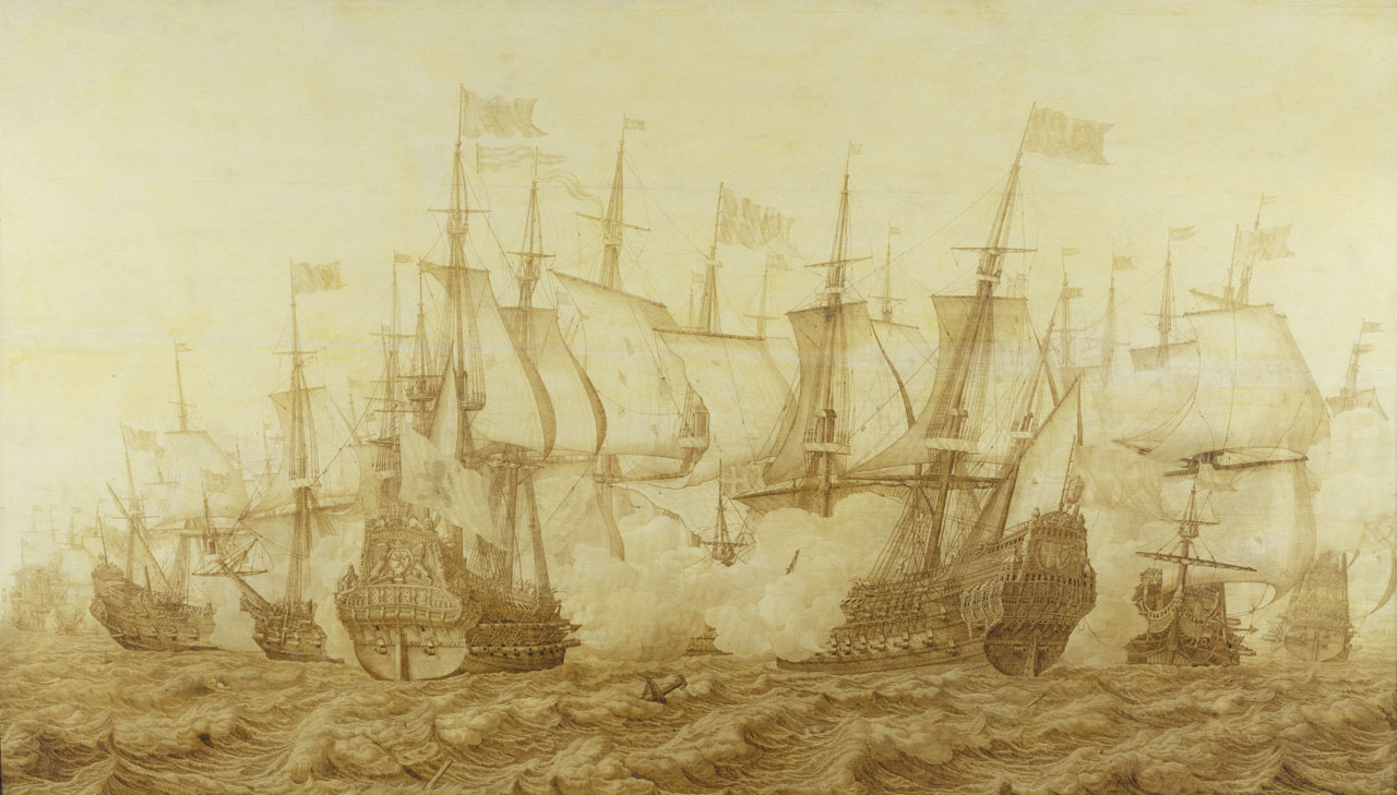 """The Battle of the Gabbard, 2 June 1653"" by Heerman Witmont, shows the Dutch flagship Brederode, right, in action with the English ship Resolution, the temporary name during the Commonwealth of HMS Prince Royal."