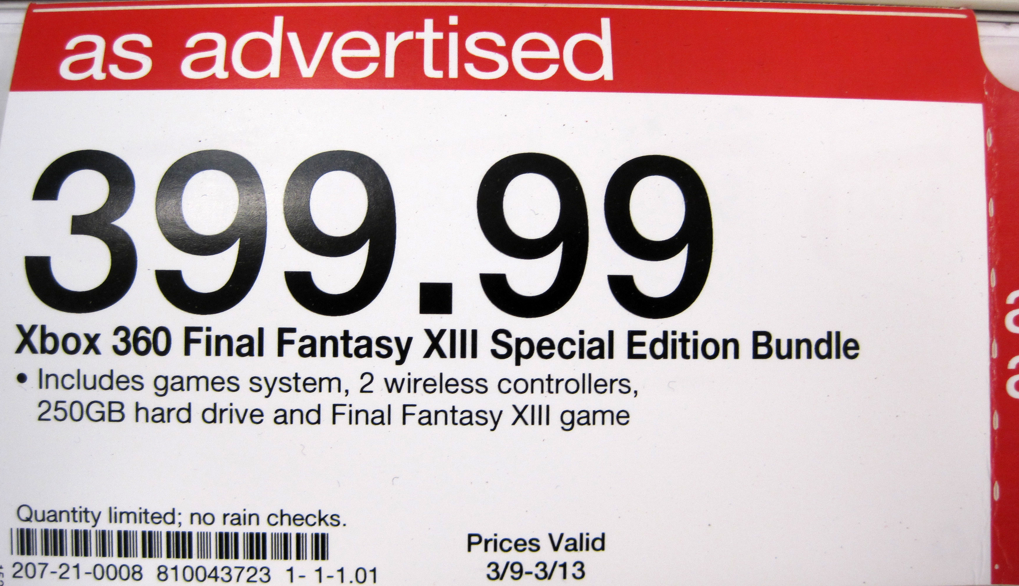 File:Xbox 360 FF XIII Special Ed  bundle price tag at Target