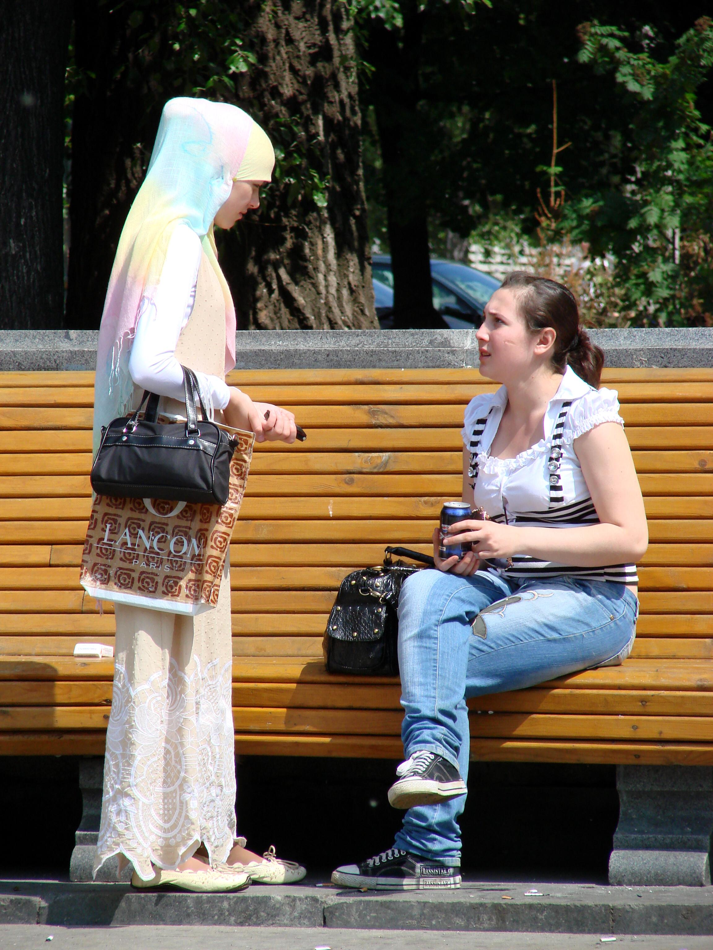 File young women in traditional and modern dress kazan russia jpg