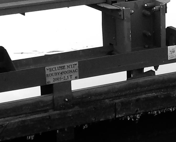 Détail d'un élément (porte) de l'écluse n° 12, dite RoubyCognac, selon étiquette métallique portant l'indication 2005-2,5T, canal de Roubaix, On distingue des moules zébrées mortes, montrant que le niveau est resté longtemps plus haut. Ce jour là: aucun poisson visible dans le bief (même avec caméra subaquatique), et eau très verte.