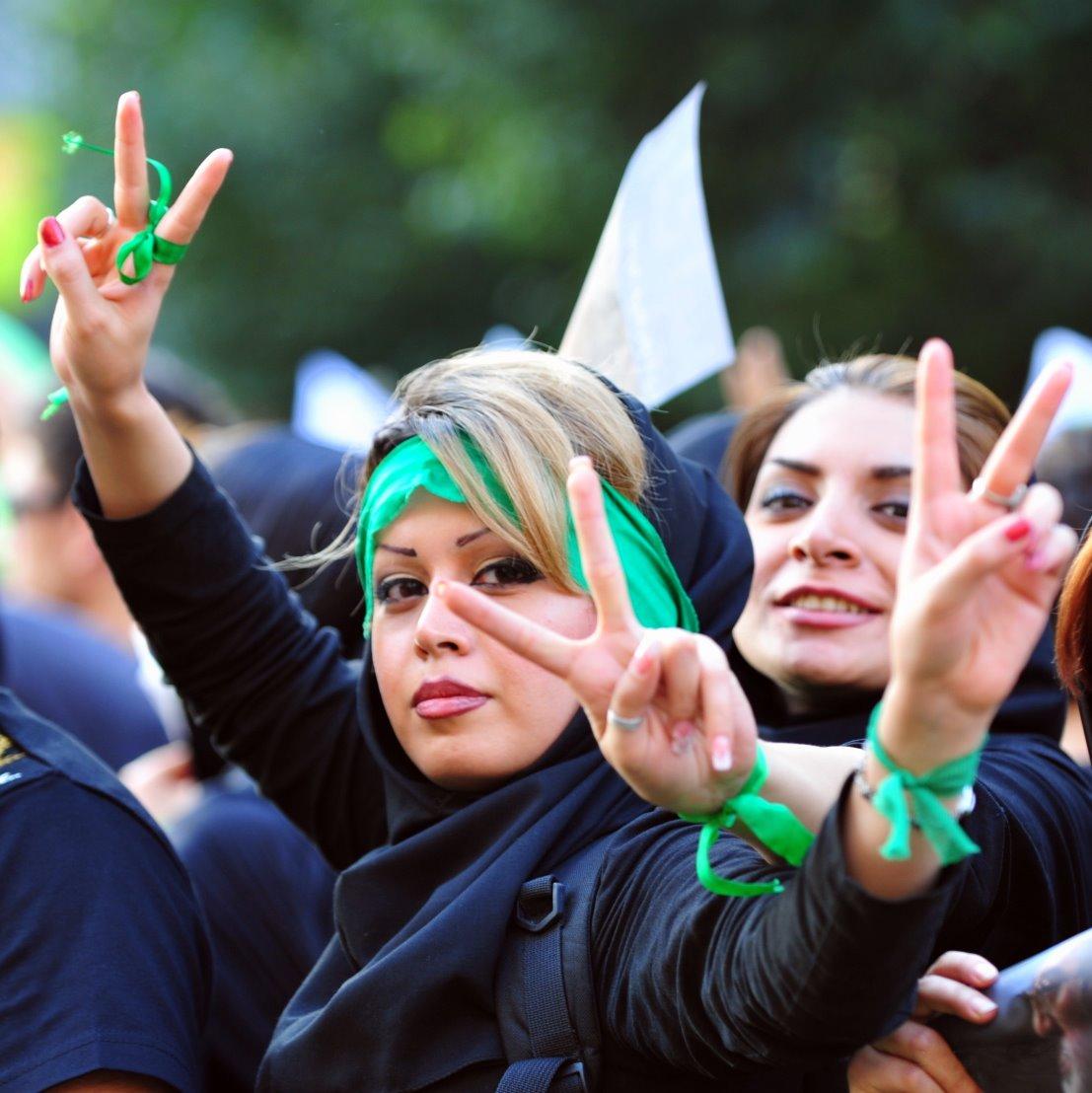 manifestantes contre les résultats de l'élection présidentielle iranienne