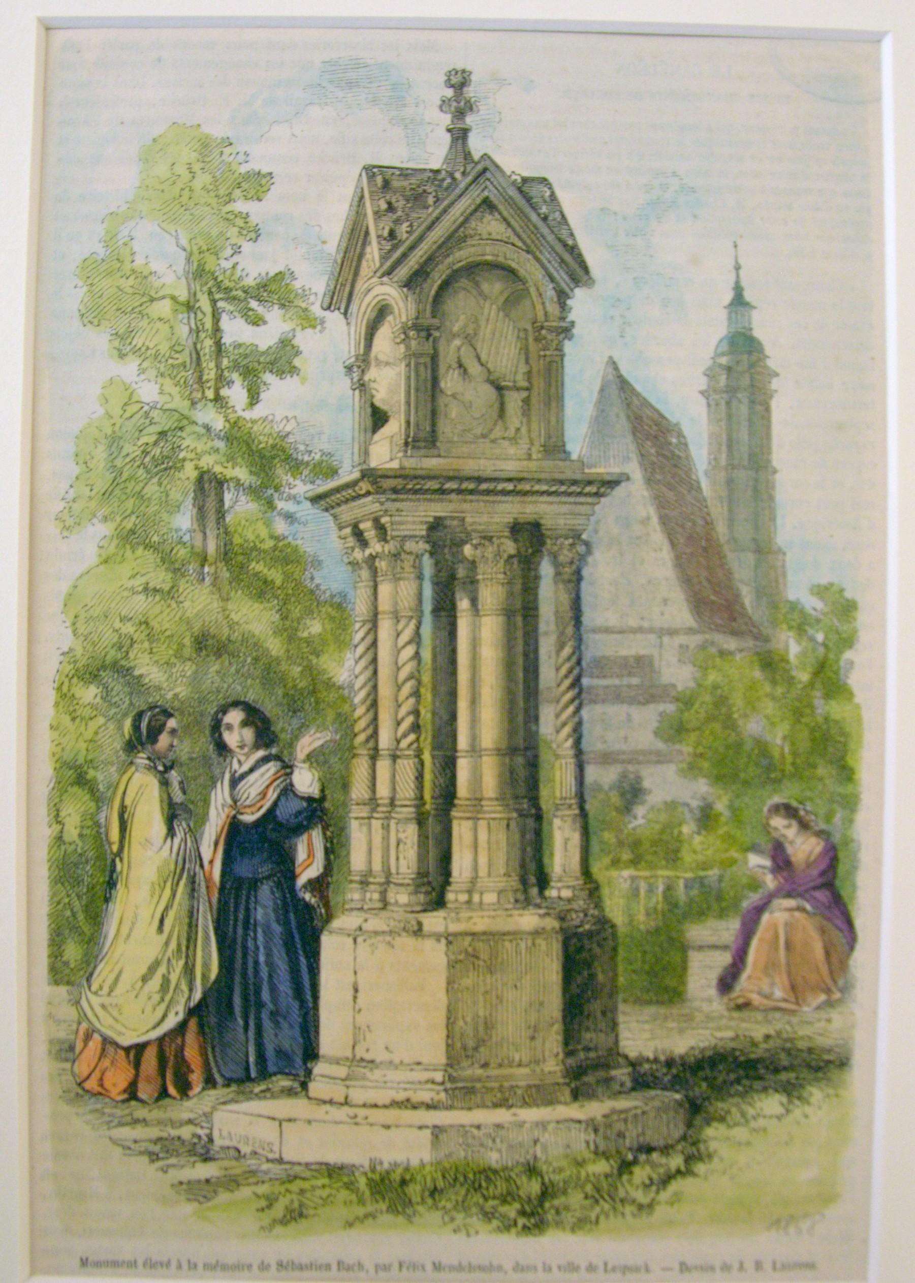 Imagen del monumento a Bach que Felix Mendelssohn había erigido en Leipzig en 1843.