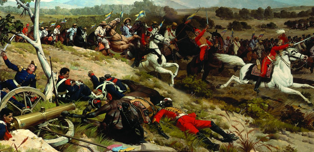 The charge of the Venezuelan First Division's cavalry at the Battle of Carabobo. Batalla de Carabobo.JPG