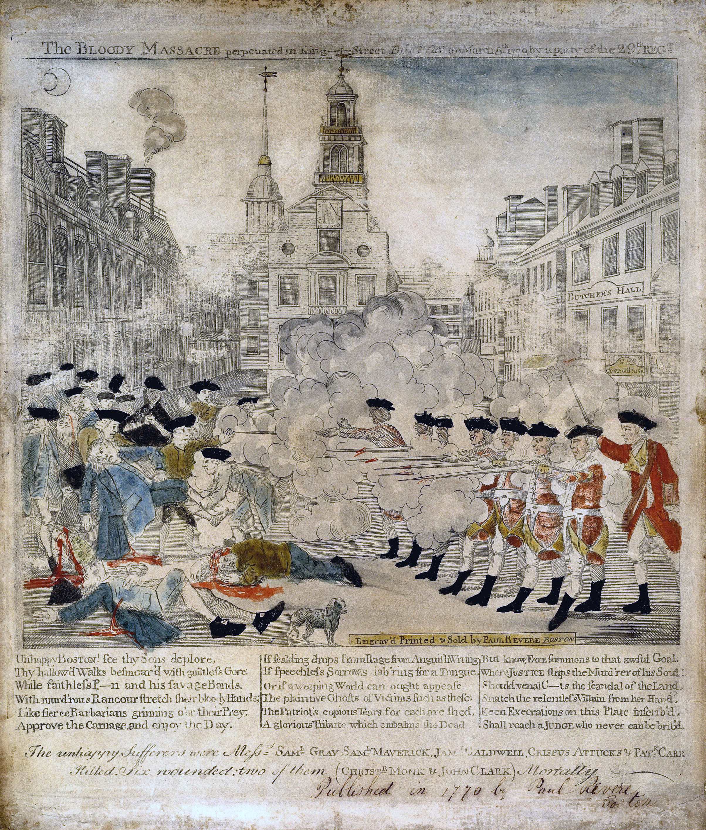 A sensationalized portrayal of the Boston Massacre (March 5, 1770): Such images were used to breed discontent and foster unity among the American colonists ...