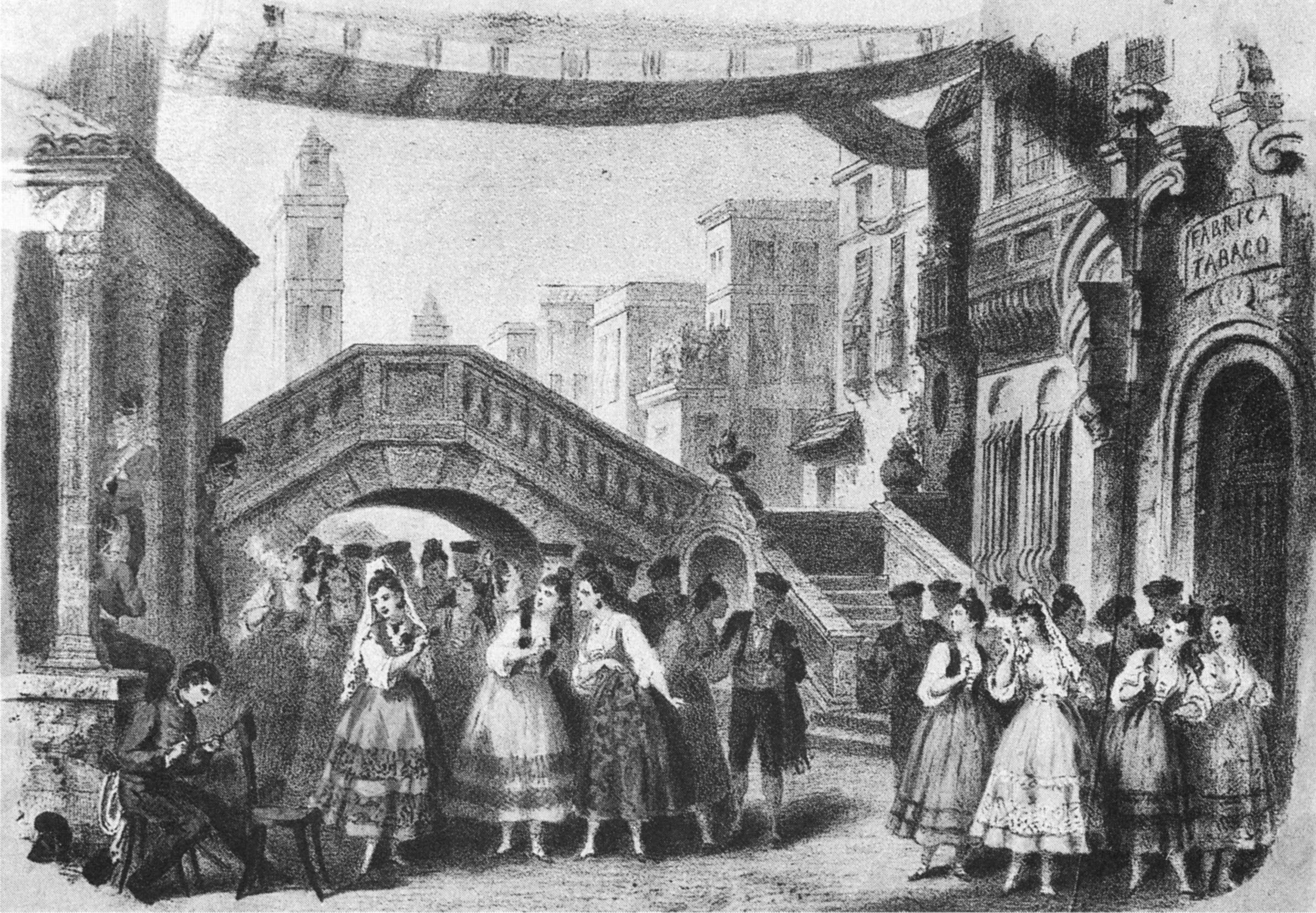 Lithograph of act 1 in the premiere performance, by Pierre-Auguste Lamy, 1875